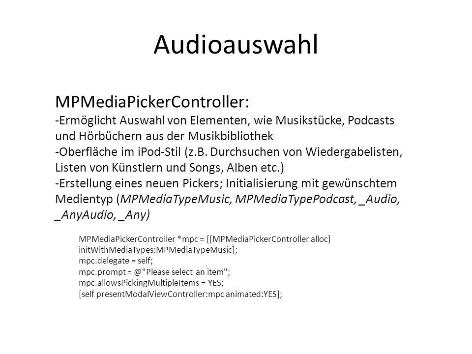 Audioauswahl MPMediaPickerController: