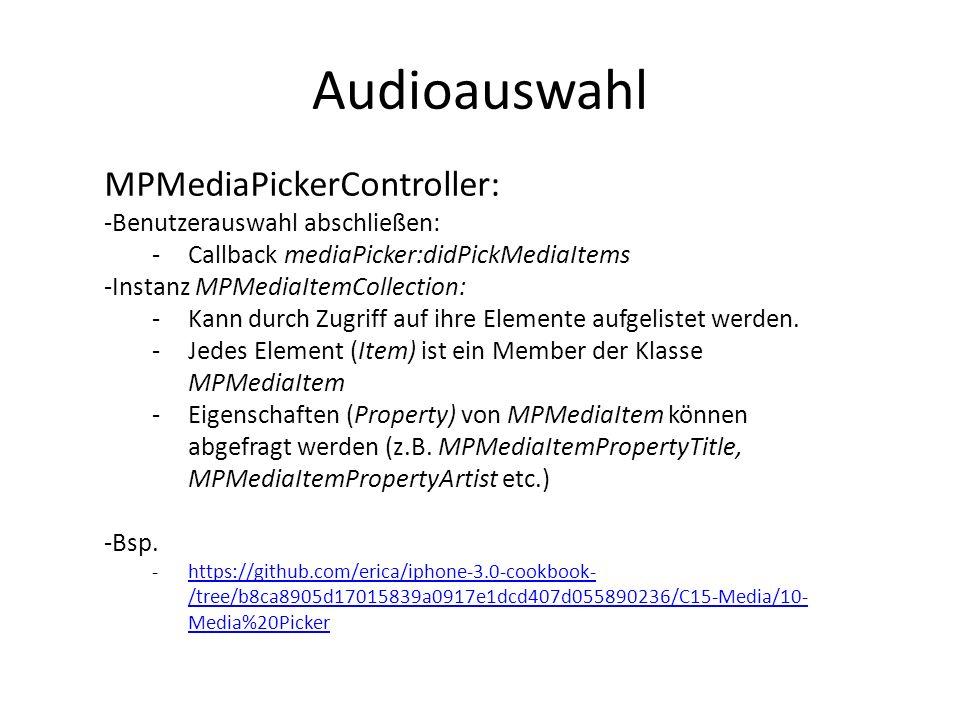 Audioauswahl MPMediaPickerController: Benutzerauswahl abschließen: