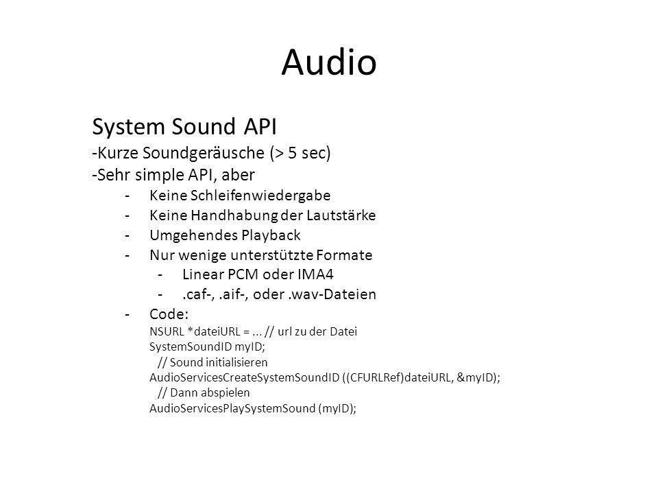 Audio System Sound API Kurze Soundgeräusche (> 5 sec)