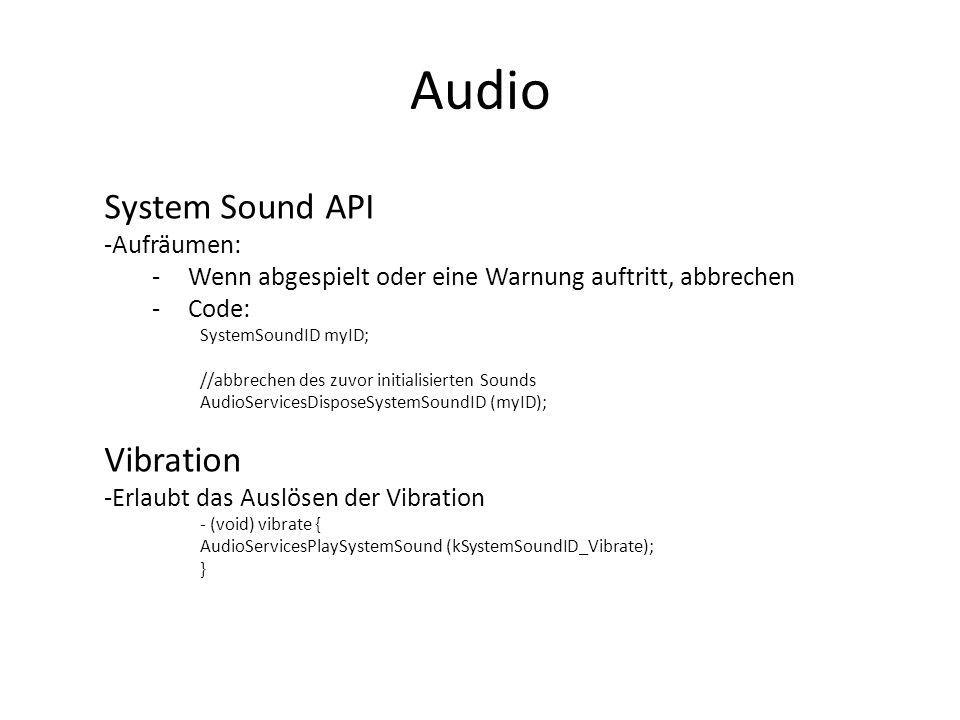 Audio System Sound API Vibration Aufräumen: