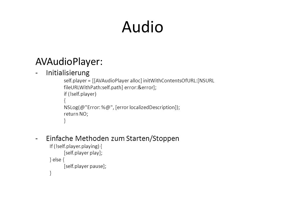 Audio AVAudioPlayer: Initialisierung