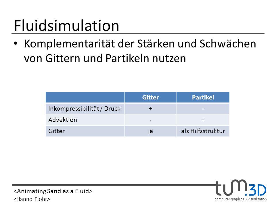 FluidsimulationKomplementarität der Stärken und Schwächen von Gittern und Partikeln nutzen. Gitter.