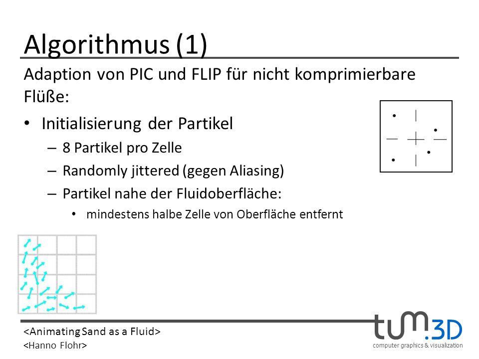 Algorithmus (1) Adaption von PIC und FLIP für nicht komprimierbare Flüße: Initialisierung der Partikel.