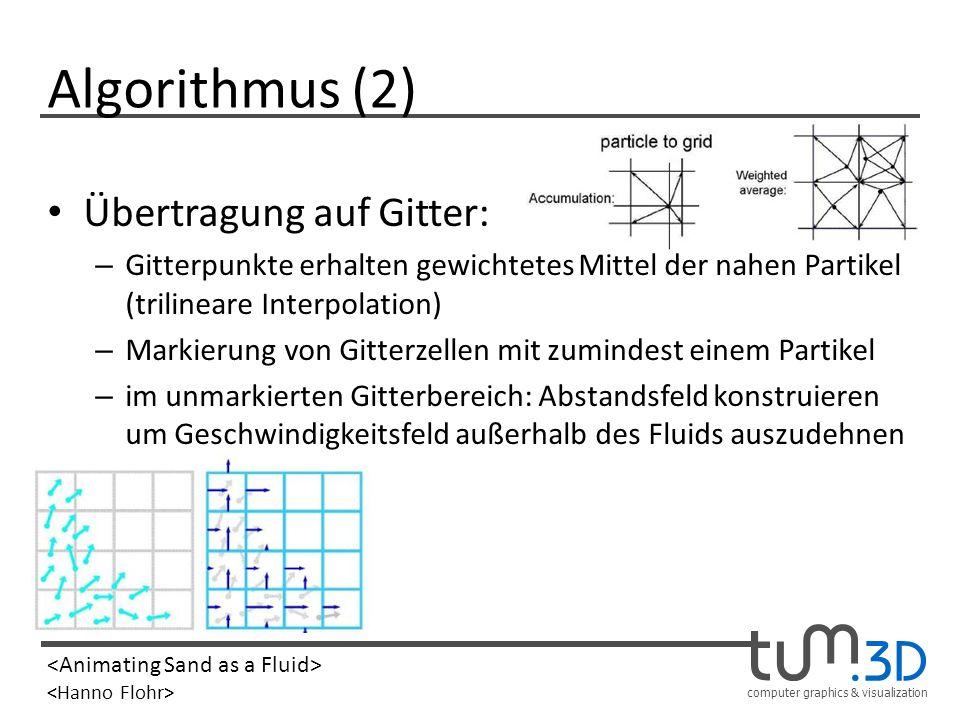 Algorithmus (2) Übertragung auf Gitter: