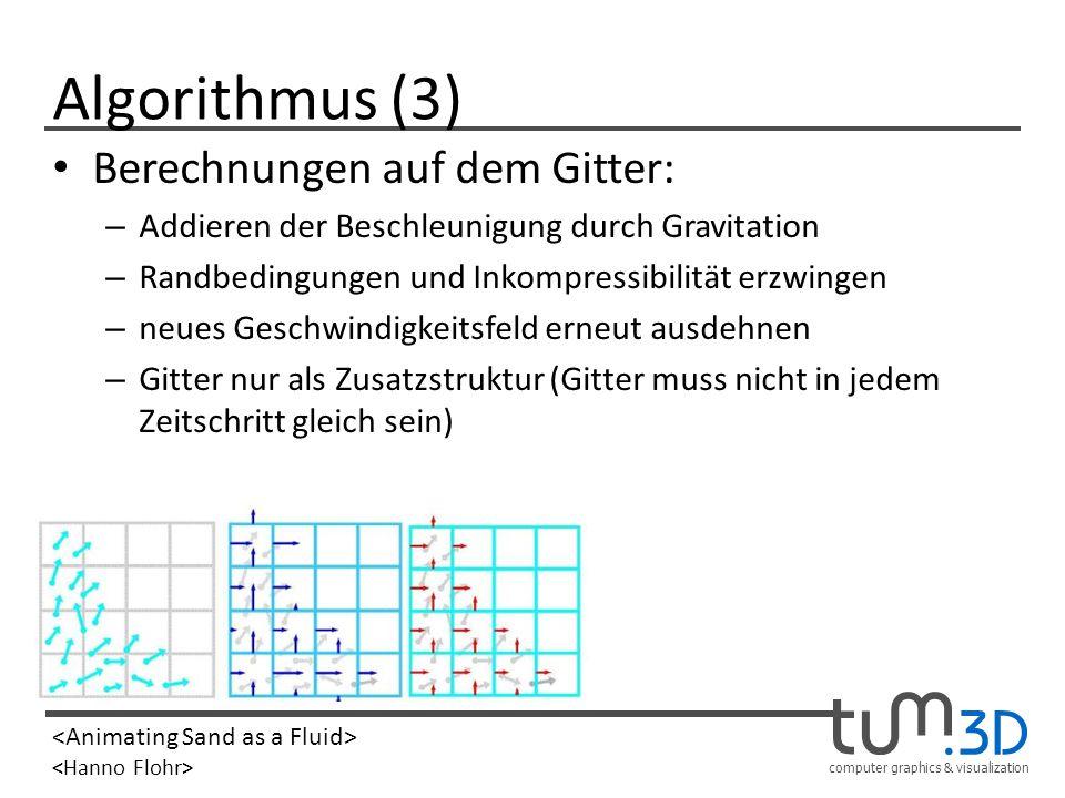 Algorithmus (3) Berechnungen auf dem Gitter: