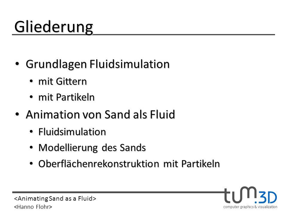 Gliederung Grundlagen Fluidsimulation Animation von Sand als Fluid