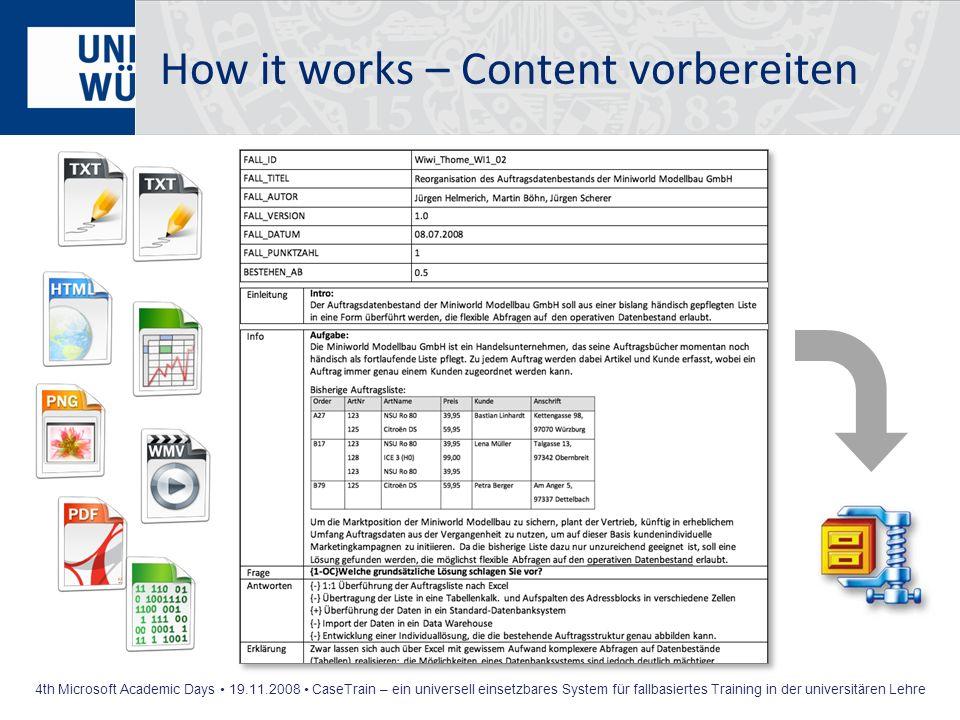 How it works – Content vorbereiten