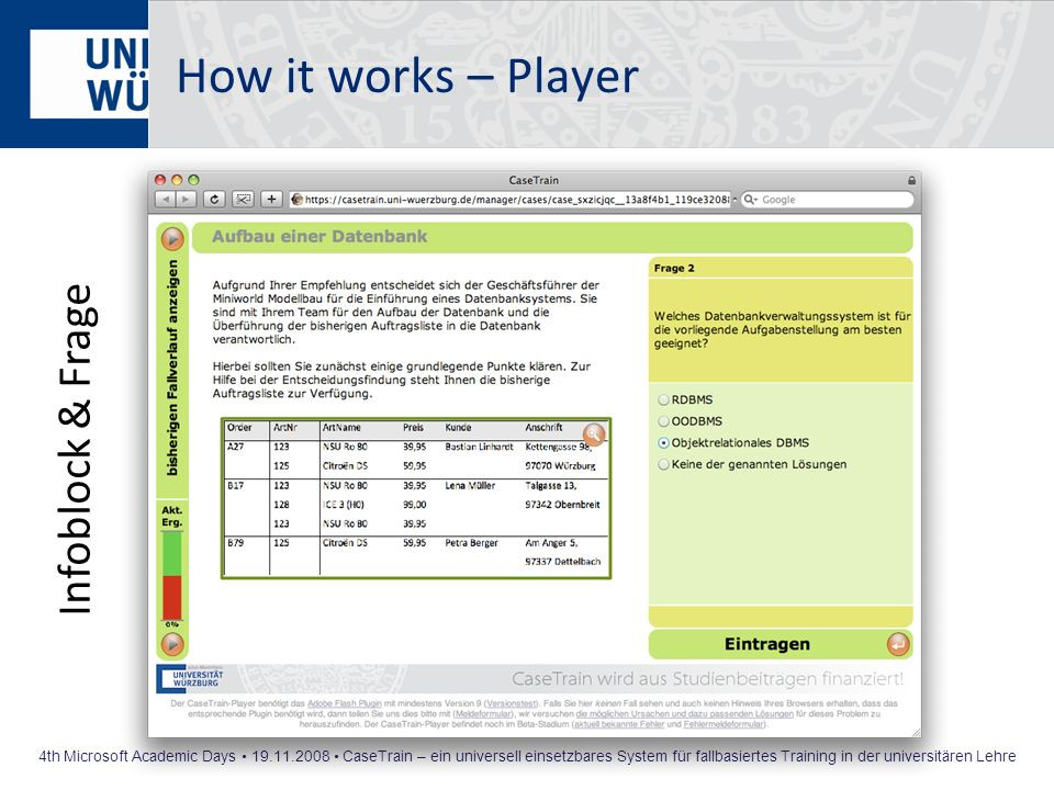 How it works – Player Infoblock & Frage