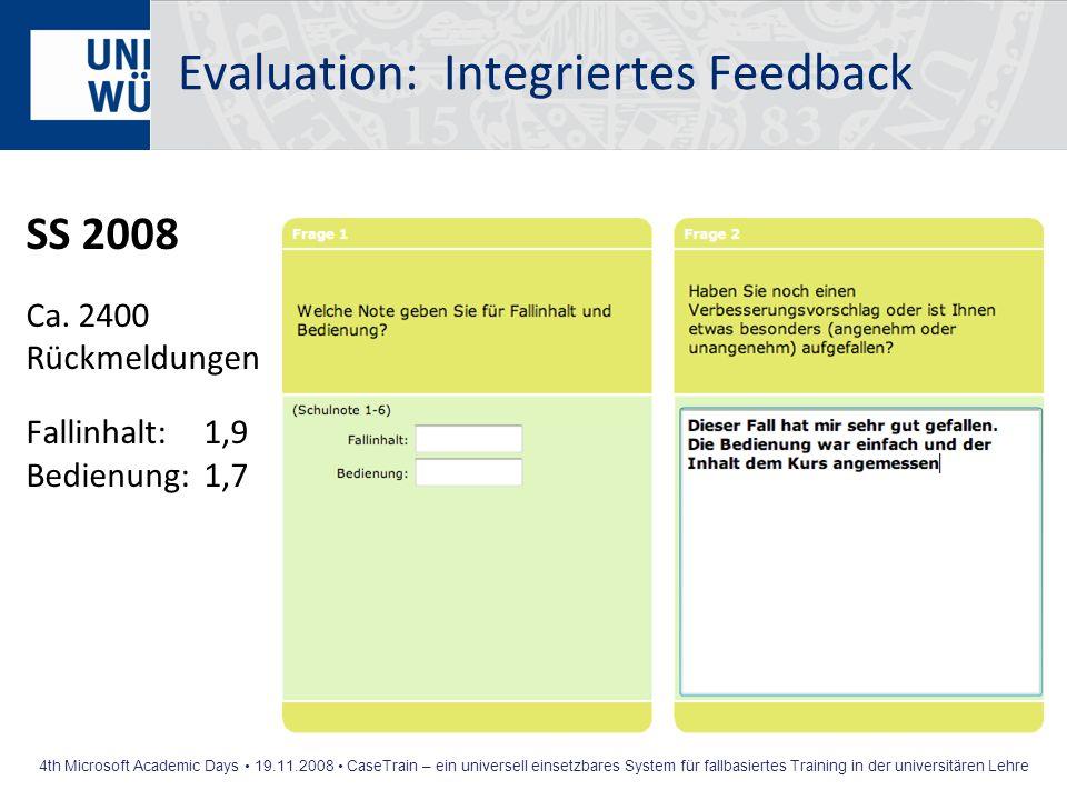 Evaluation: Integriertes Feedback