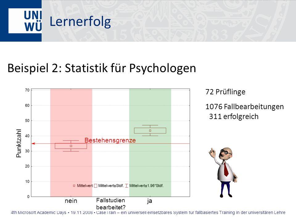 Lernerfolg Beispiel 2: Statistik für Psychologen 72 Prüflinge