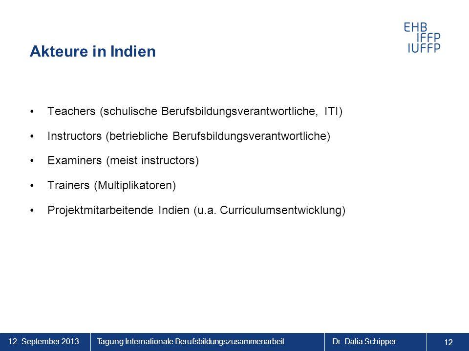 Akteure in Indien Teachers (schulische Berufsbildungsverantwortliche, ITI) Instructors (betriebliche Berufsbildungsverantwortliche)