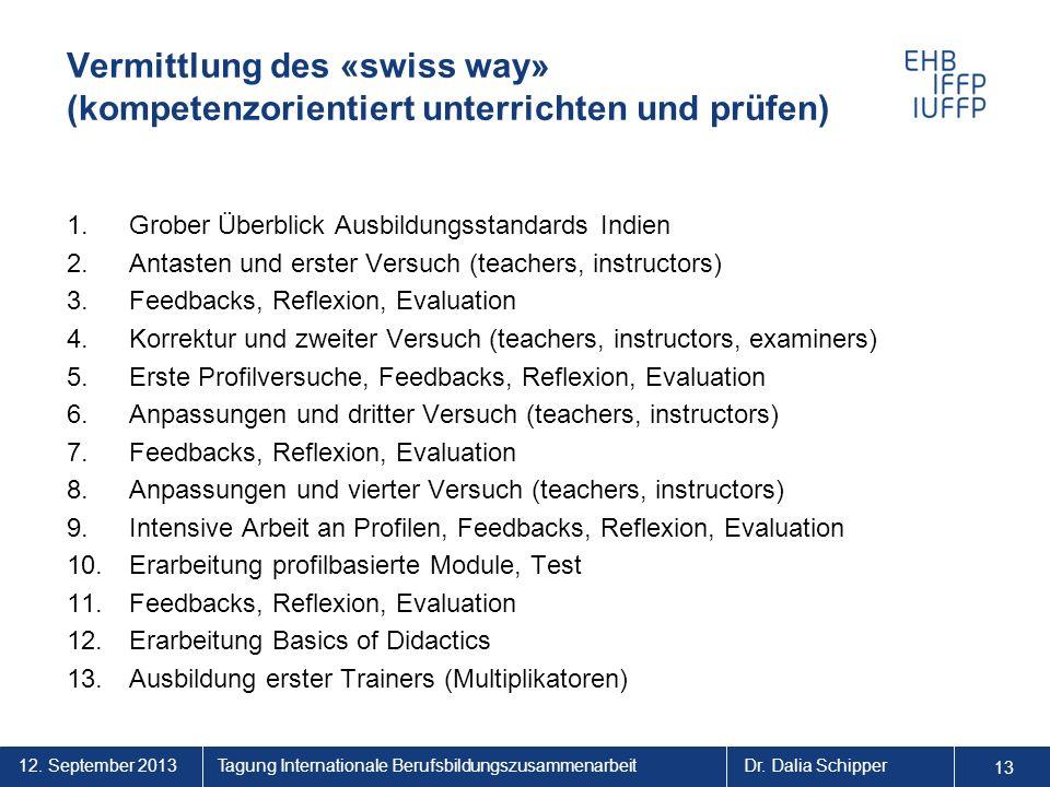 Vermittlung des «swiss way» (kompetenzorientiert unterrichten und prüfen)