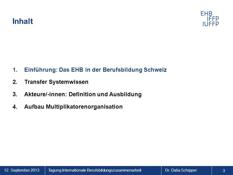 Inhalt Einführung: Das EHB in der Berufsbildung Schweiz