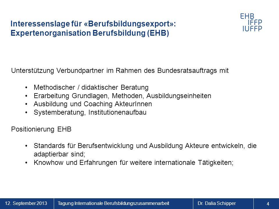4 4. Interessenslage für «Berufsbildungsexport»: Expertenorganisation Berufsbildung (EHB)