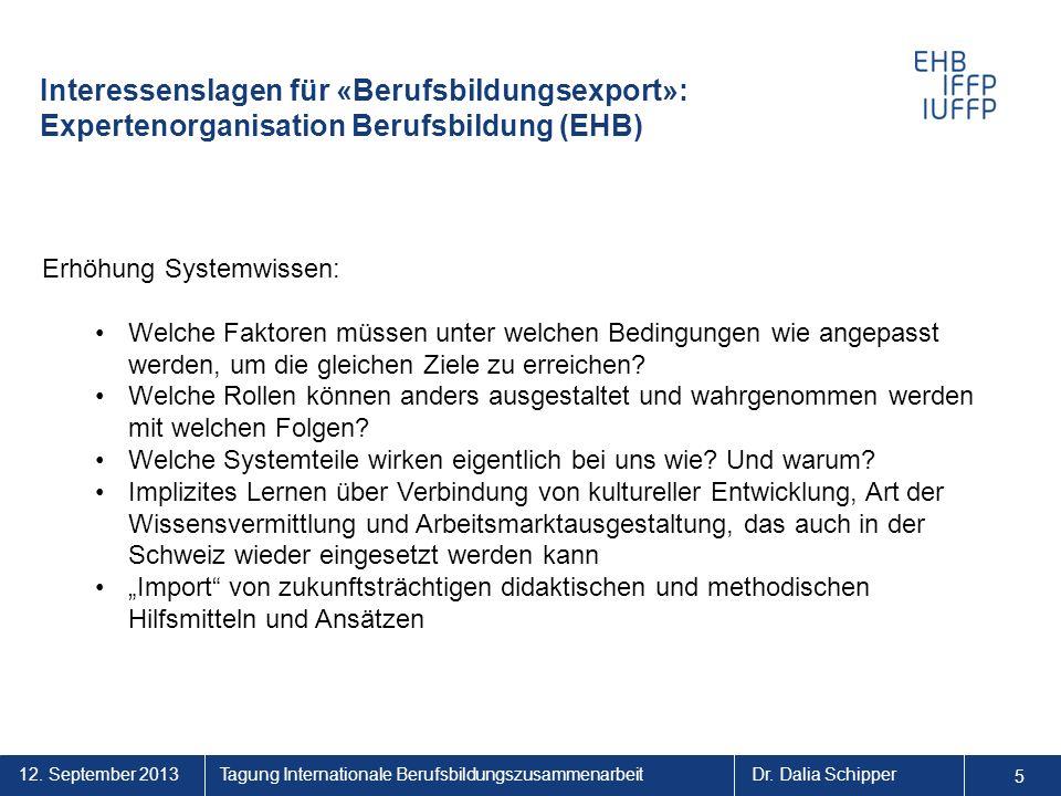 5 5. Interessenslagen für «Berufsbildungsexport»: Expertenorganisation Berufsbildung (EHB) Erhöhung Systemwissen: