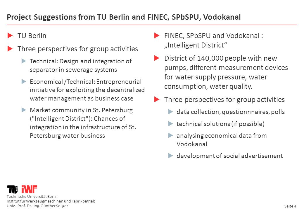 Project Suggestions from TU Berlin and FINEC, SPbSPU, Vodokanal