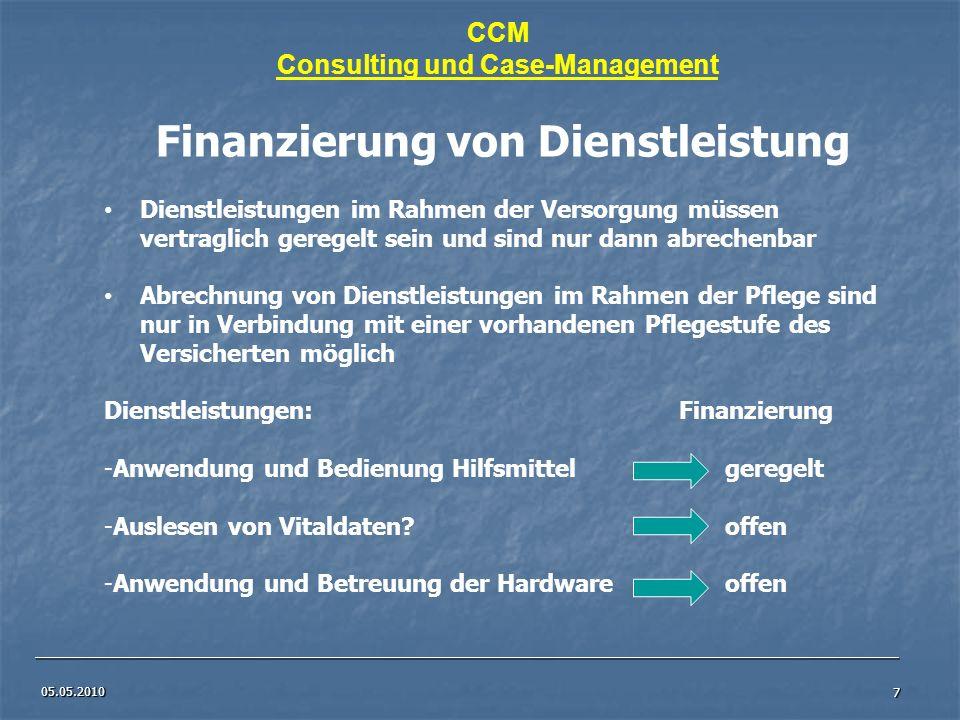 Consulting und Case-Management Finanzierung von Dienstleistung