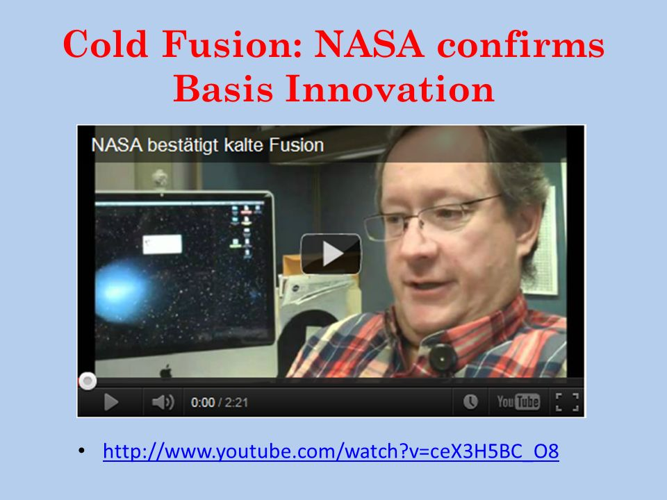 Cold Fusion: NASA confirms Basis Innovation