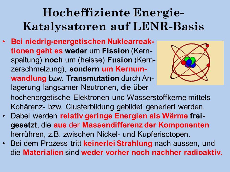 Hocheffiziente Energie-Katalysatoren auf LENR-Basis