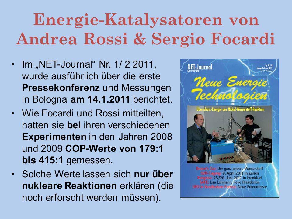 Energie-Katalysatoren von Andrea Rossi & Sergio Focardi