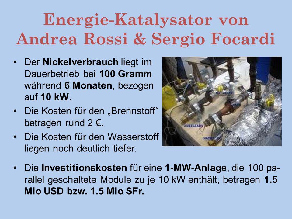 Energie-Katalysator von Andrea Rossi & Sergio Focardi