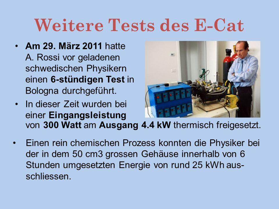 Weitere Tests des E-Cat