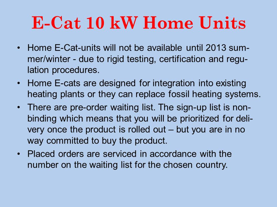 E-Cat 10 kW Home Units