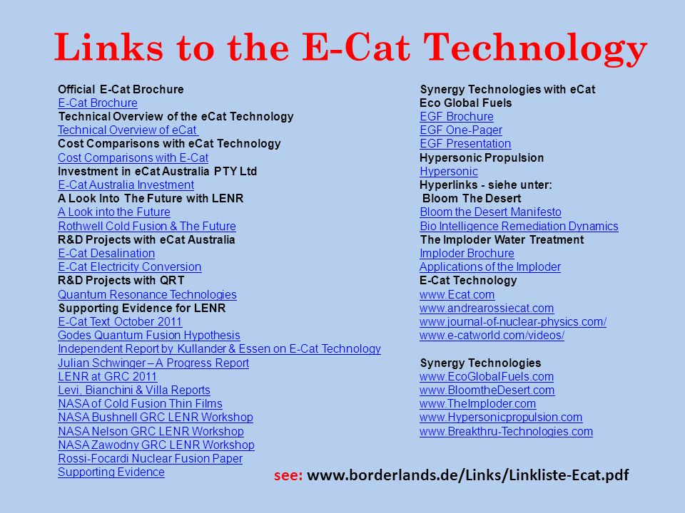 Links to the E-Cat Technology