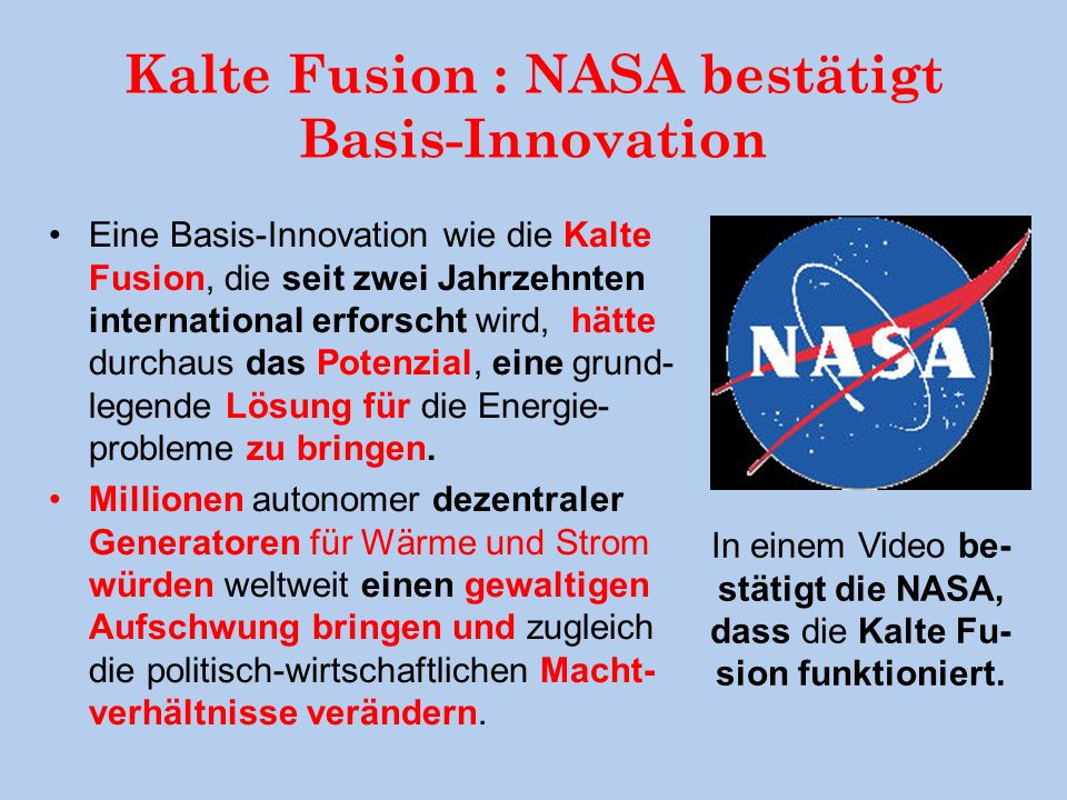 Kalte Fusion : NASA bestätigt Basis-Innovation