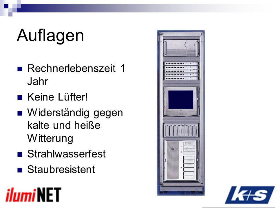 Auflagen Rechnerlebenszeit 1 Jahr Keine Lüfter!