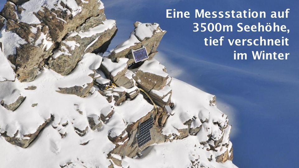 Eine Messstation auf 3500m Seehöhe, tief verschneit im Winter