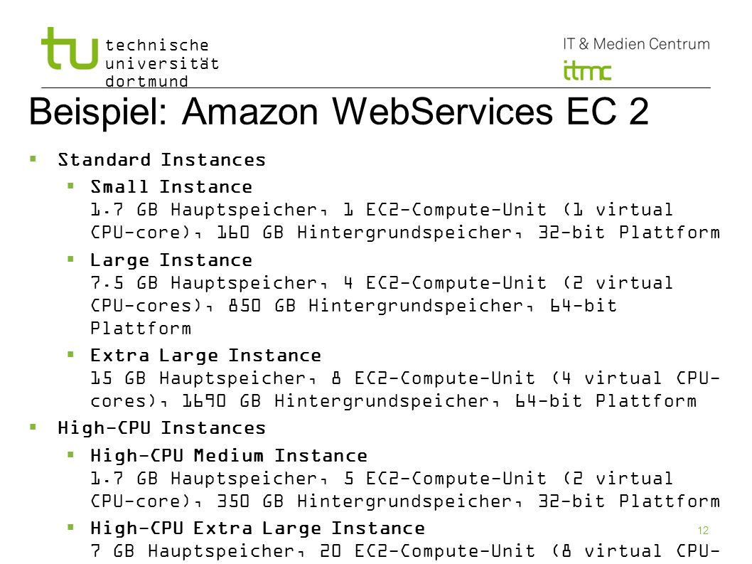 Beispiel: Amazon WebServices EC 2
