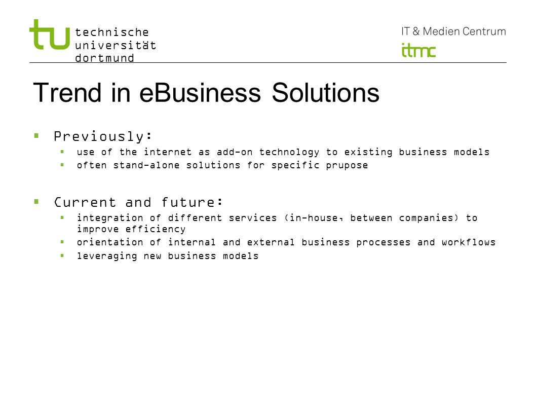Trend in eBusiness Solutions