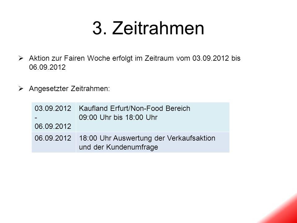 3. Zeitrahmen Aktion zur Fairen Woche erfolgt im Zeitraum vom 03.09.2012 bis 06.09.2012. Angesetzter Zeitrahmen: