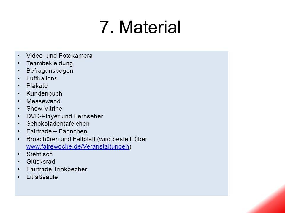 7. Material Video- und Fotokamera Teambekleidung Befragunsbögen
