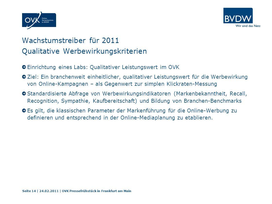 Wachstumstreiber für 2011 Qualitative Werbewirkungskriterien