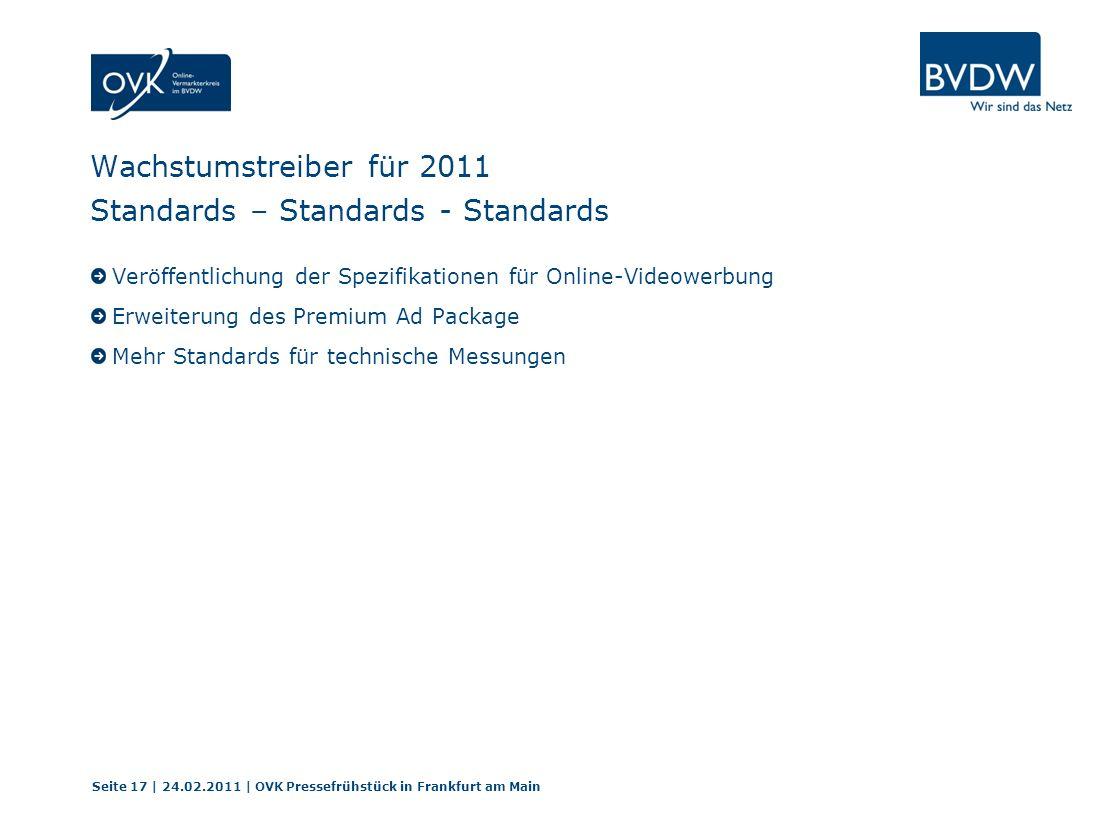 Wachstumstreiber für 2011 Standards – Standards - Standards