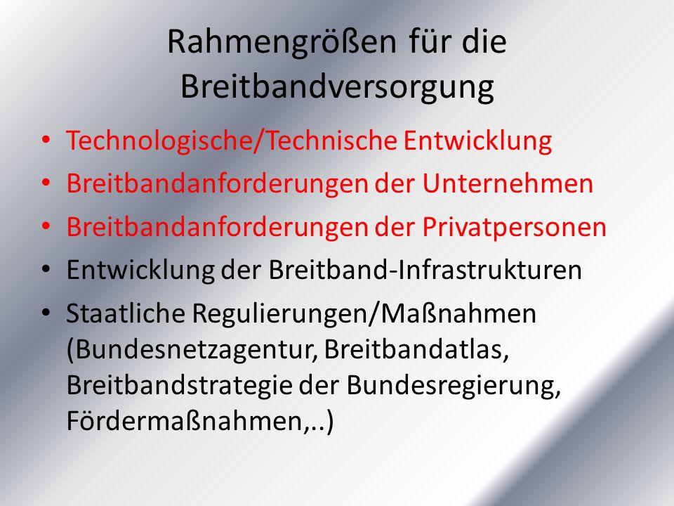 Rahmengrößen für die Breitbandversorgung
