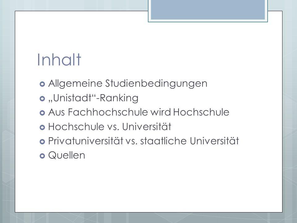 """Inhalt Allgemeine Studienbedingungen """"Unistadt -Ranking"""