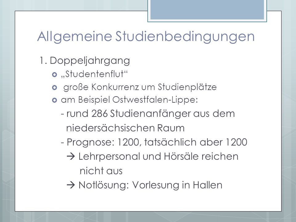 Allgemeine Studienbedingungen