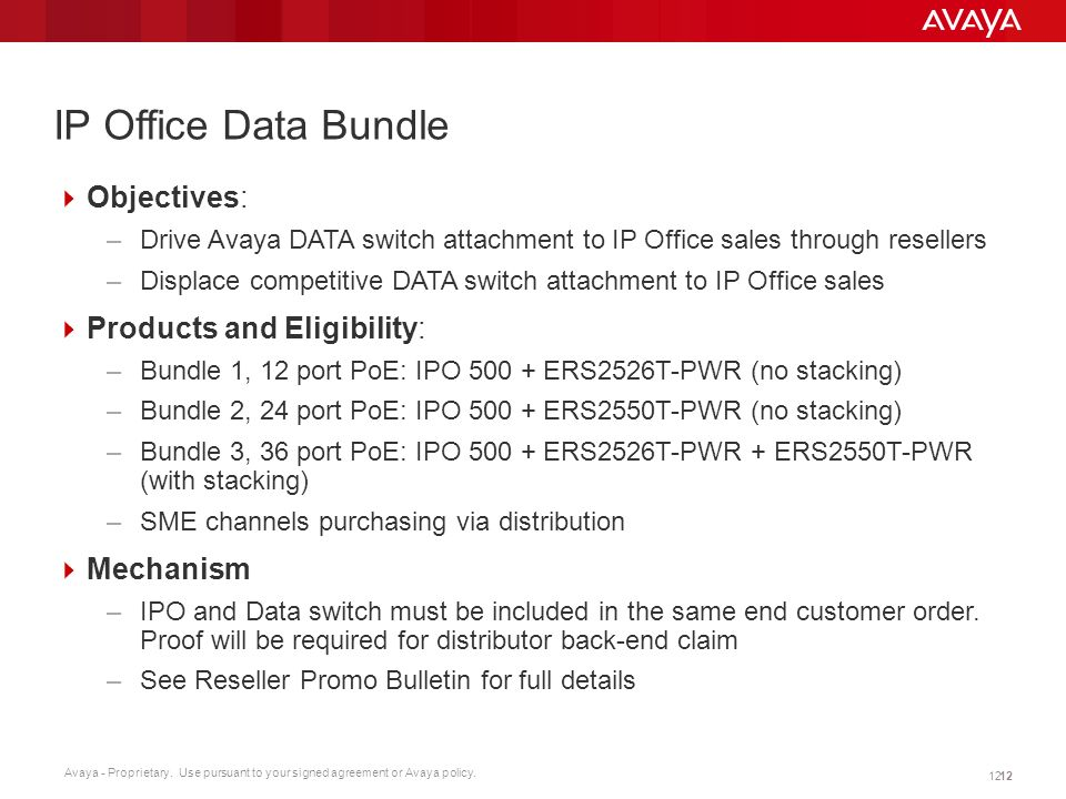 IP Office Data Bundle Objectives: Products and Eligibility: Mechanism