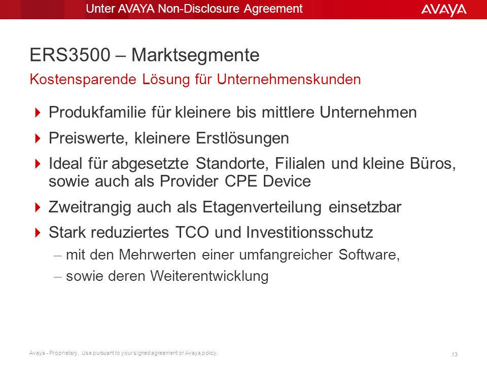 Unter AVAYA Non-Disclosure Agreement