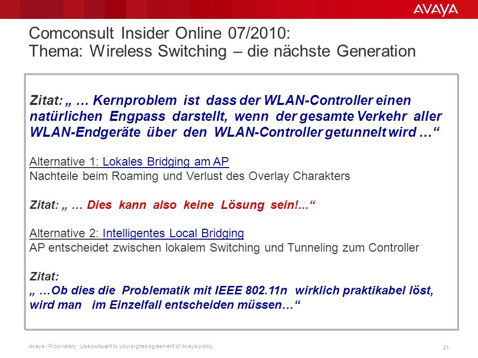 Comconsult Insider Online 07/2010: Thema: Wireless Switching – die nächste Generation