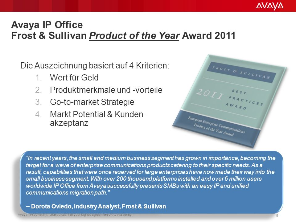 Avaya IP Office Frost & Sullivan Product of the Year Award 2011