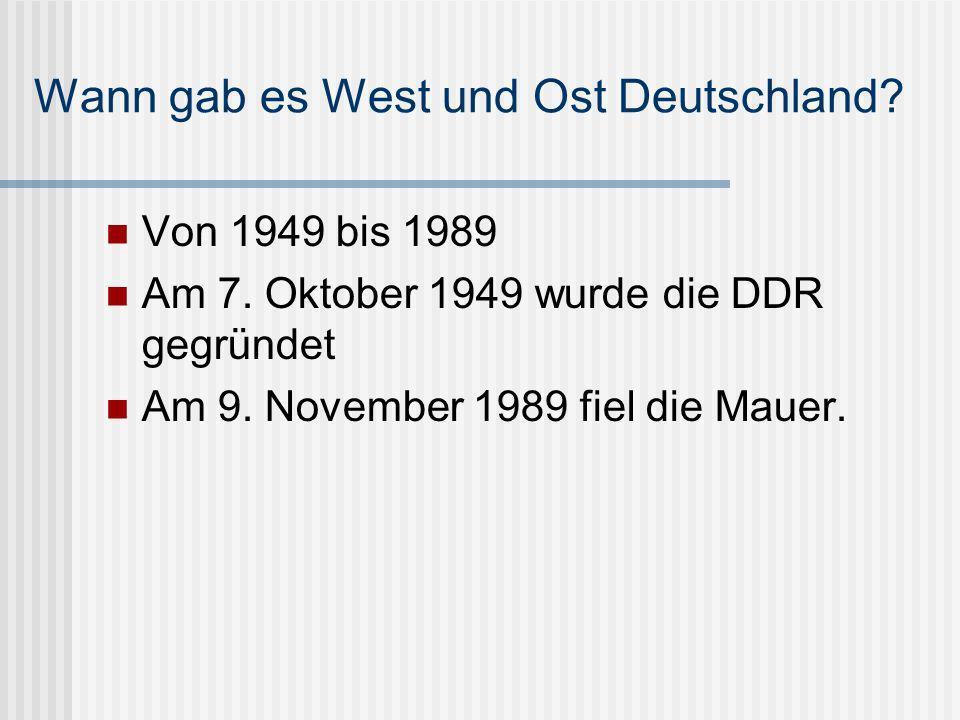 Wann gab es West und Ost Deutschland