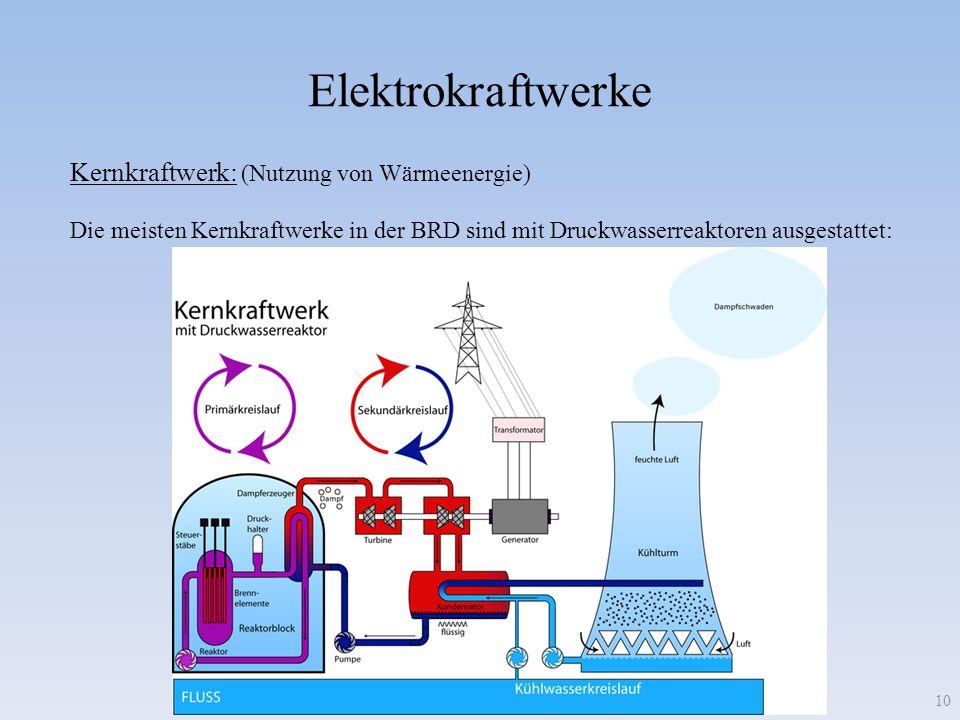 Elektrokraftwerke Kernkraftwerk: (Nutzung von Wärmeenergie)