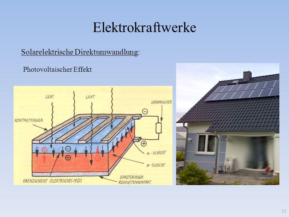 Elektrokraftwerke Solarelektrische Direktumwandlung: