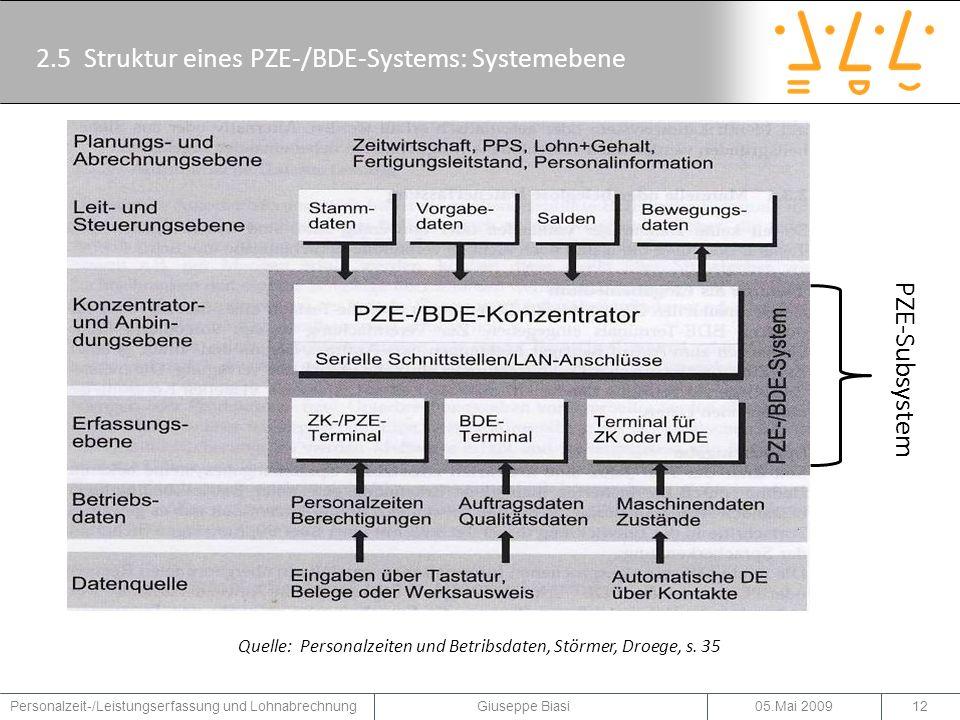 2.5 Struktur eines PZE-/BDE-Systems: Systemebene