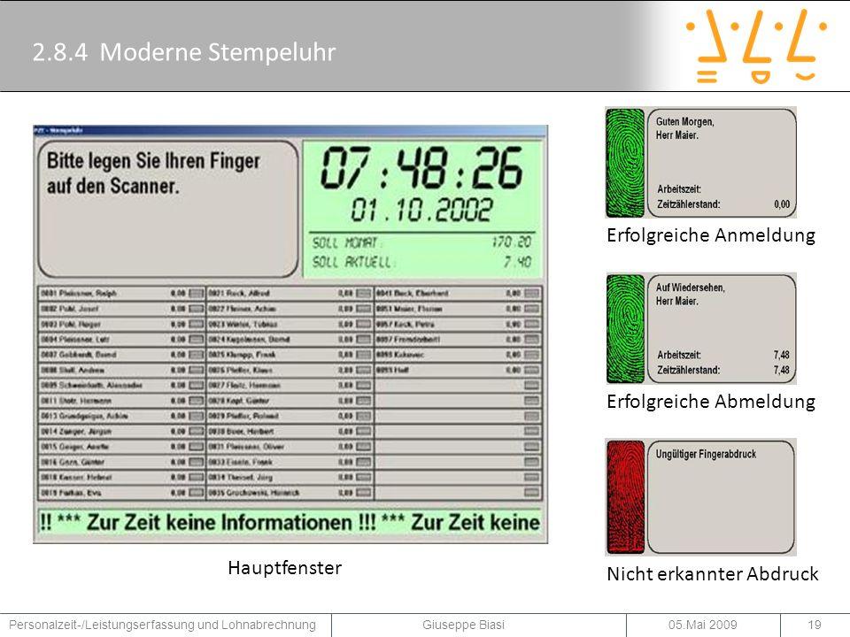 2.8.4 Moderne Stempeluhr Erfolgreiche Anmeldung Erfolgreiche Abmeldung