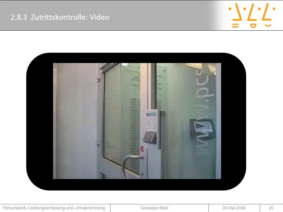 2.8.3 Zutrittskontrolle: Video